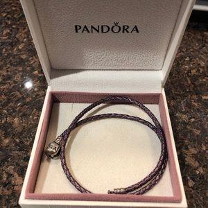 Pandora purple double-braided charm bracelet
